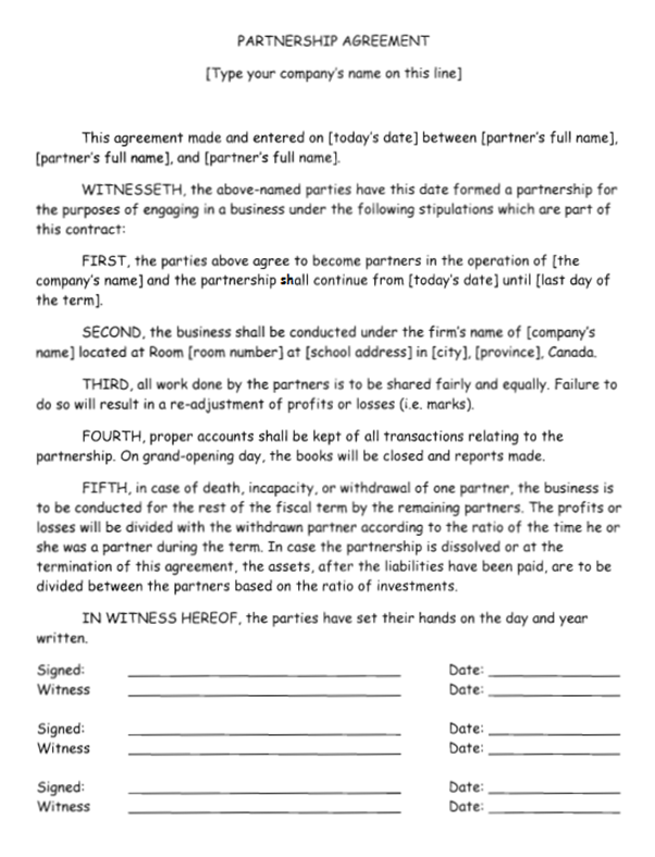 how to write a business partnership agreement